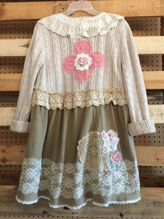 Upcycled Shabby Chic Romantic Cardigan Sweater Wearable Art