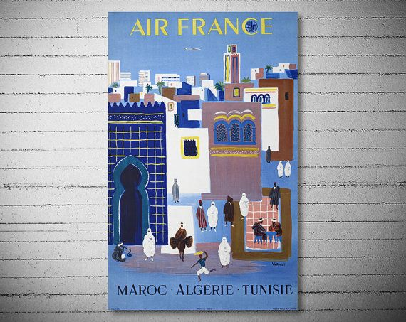 Air France Maroc, Algerie, Tunisie, Travel Poster - Poster Paper, Sticker or Canvas Print  For Bulk Orders (minimum order 30 items) please contact us.