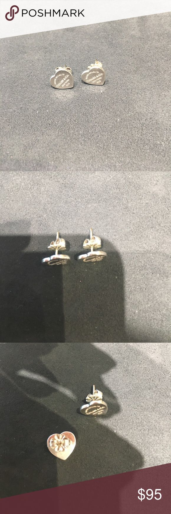 """Tiffany and Co. Return to Tiffany & Co Earrings Sterling silver Authentic Tiffany and Co. """"Please return to Tiffany and Co"""" heart earrings. Worn, very light scratches on front just from normal wear. Not interested in trades. Tiffany & Co. Jewelry Earrings"""