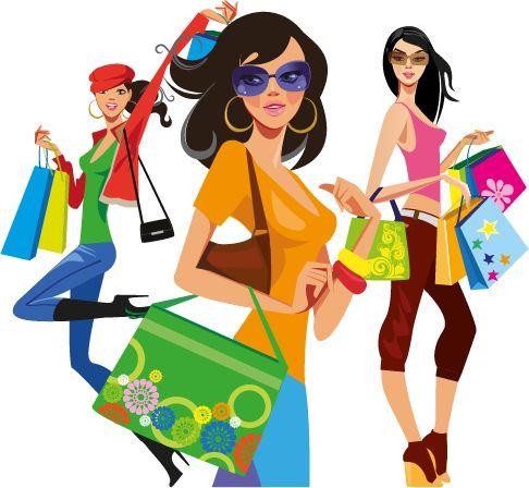 Vector ClipArt: Chicas de compras 02, imagen vectorial.