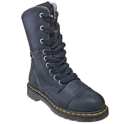 Dr. Martens Boots: Women's R16782001 Black Steel Toe EH 9 Eye Boots - Women's Steel Toe Boots - Footwear