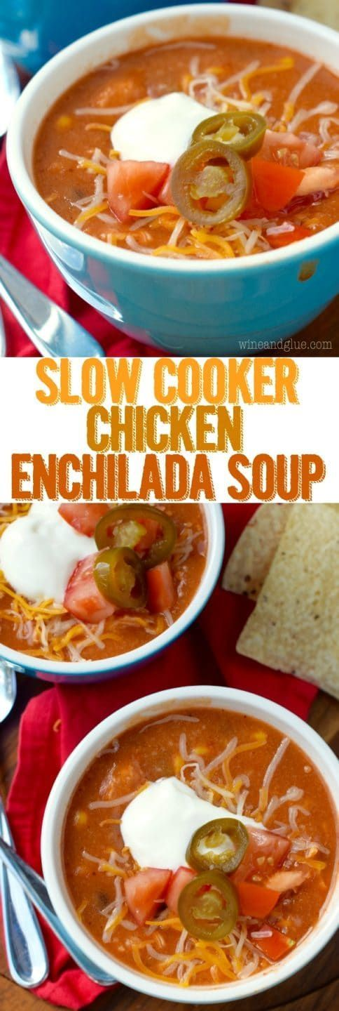 This Slow Cooker Chicken Enchilada Soup is easy to throw together with amazing flavor and only about 300 calories a bowl! It will quickly become a regular on your family's menu.