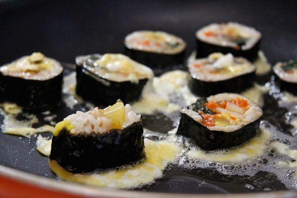 Egg Dipped Kimbap | ChefJulieYoon.com