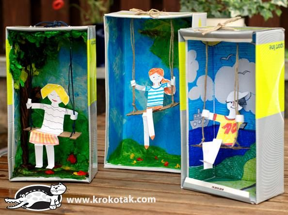 Swing From An Empty Shoe Box Project For Kids - by Krokotak - == -  By Russian educative website Krokotak, here is a cool project for kids, with a tutorial full of photos that dispenses words.