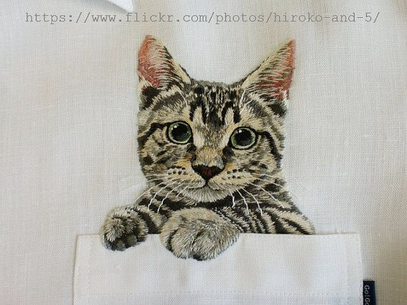 hand embroidered cat in the pocket on the white linen от ShopGoGo5