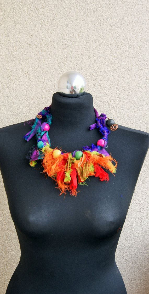 Multicolour necklace-Recycling sari silk by handmadestreet101
