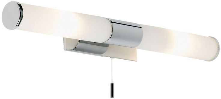 Small rectangular wall bracket with a polished chrome fascia, two long opal glass shades, chrome detail and a pull cord switch. Rated IP44.