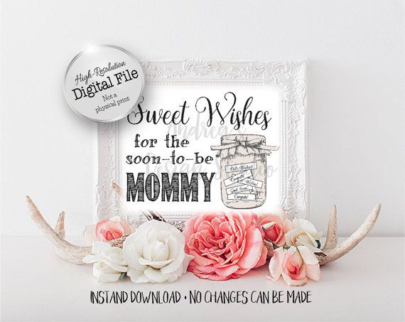 Sweet Wishes For The Mommy Baby Shower Sign Well Wishes Jar
