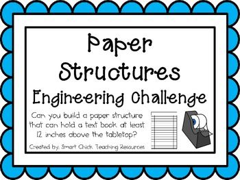 Paper Structures: Engineering Challenge Project ~ Great STEM Activity! Can you build a paper structure that can hold a text book at least 12 inches above the tabletop for at least 30 seconds? $