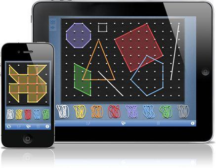 Geoboard, per explorar una varietat de temes matemàtics introduïts en els graus de primària i secundària. segments de línies i polígons i perímetre, àrea, angles, congruència, fraccions, i més.