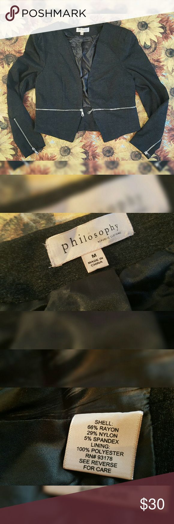 Philosophy Cropped Blazer Worn once. Great condition. Stretchy material. Super comfy. Great for dressing up an outfit. Philosophy Jackets & Coats Blazers