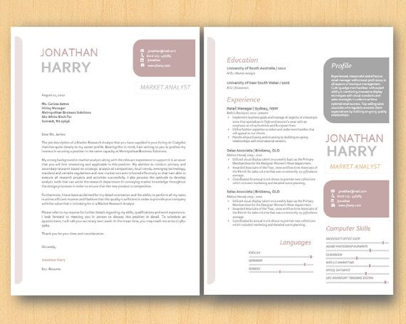 ... Cropped Round Rectangle Microsoft Word Resume cover letter Template