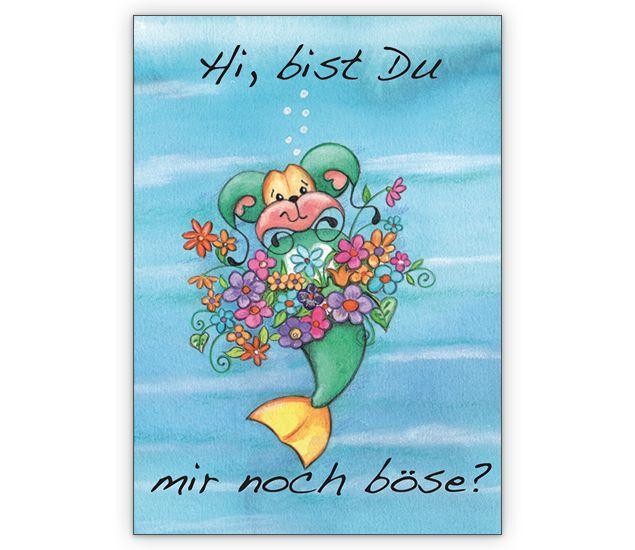 Entschuldigungs Grußkarte mit Blumen: Hi, bist Du mir noch ...