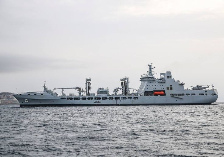 """Royal Navy - """"RFA TIDESPRING"""" (A136) is a (659.1') Tide Class Fast Fleet Tanker – Launched: April 2015 (Sea Trials, Expected Commissioning Mid-2017) Crew: 63 Officers, Enlisted (plus 46 non-Crew Embarked Persons (Royal Marines, Flight Crew, Trainees) Armament:  2 × 20mm Phalanx CIWS Cannon and 2 x 30mm Cannon – Aircraft: 1 x AgustaWestland AW159 Wildcat or 1 x AgustaWestland Merlin HC3A Helicoper"""