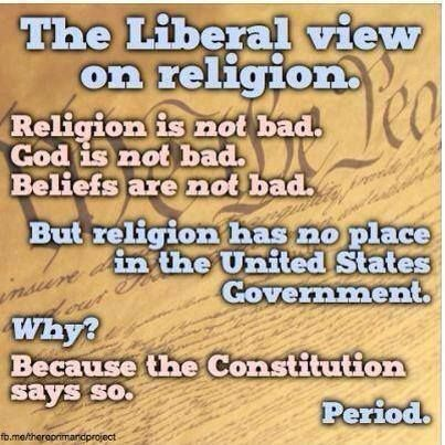 """Truth be told...   It's very clear in the First Amendment of the Constitution, """"Congress shall make no law respecting an establishment of religion, or prohibiting the free exercise thereof...""""."""