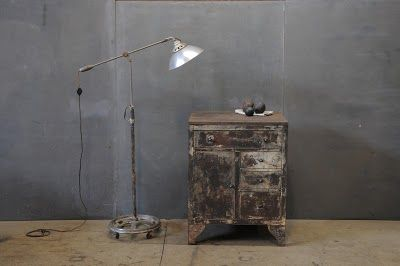 Industrial vintage lighting and distressed nightstand