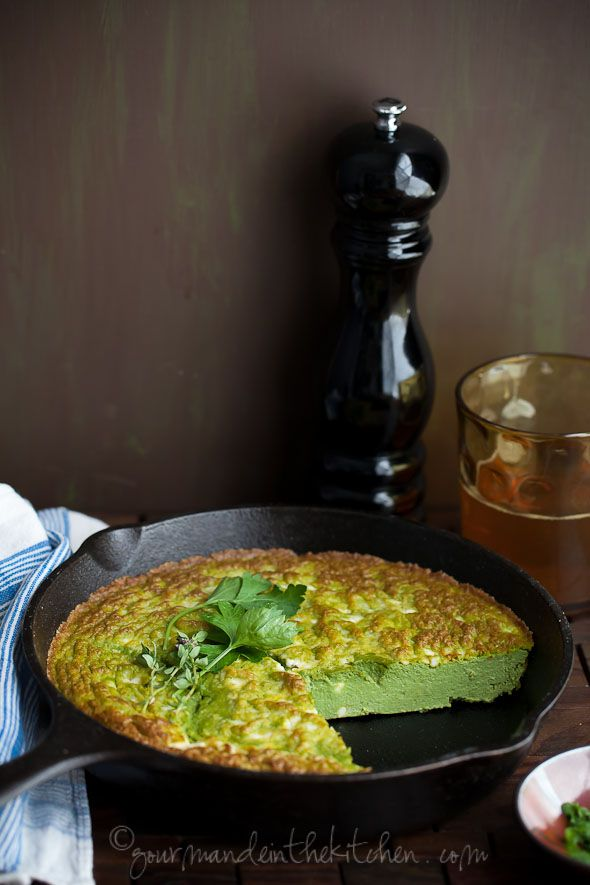 Ricotta, Herb Frittata with Feta - A fluffy baked frittata with filled with salty feta and fresh herbs.