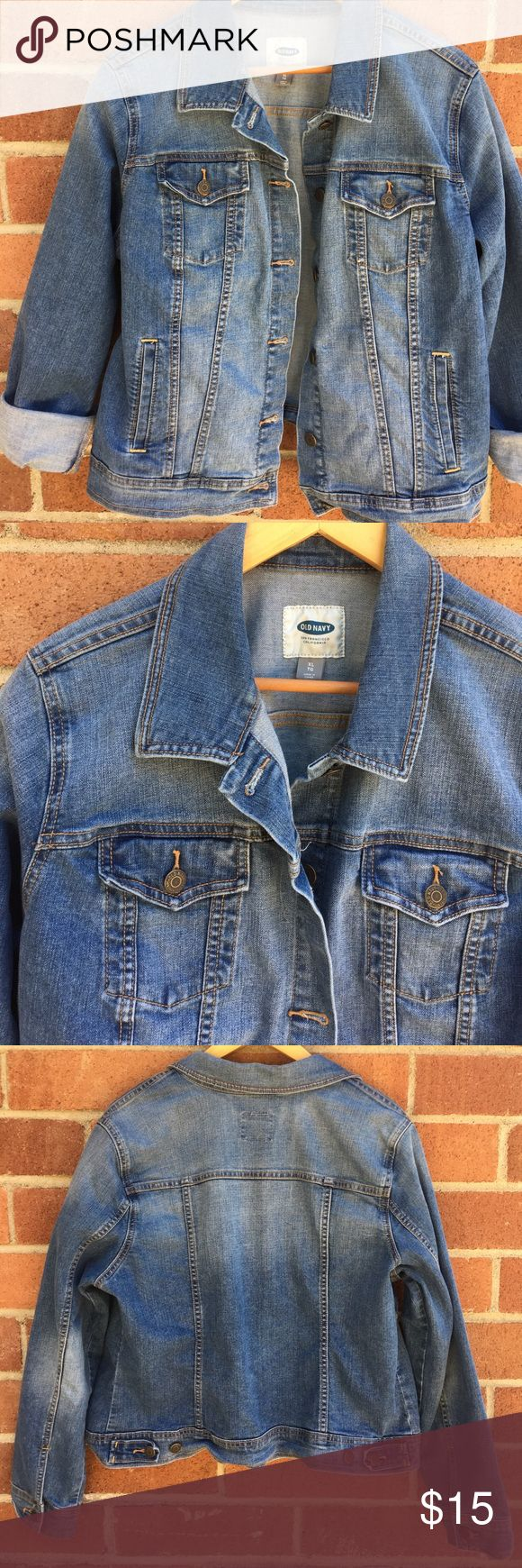 Old Navy Jean Jacket Old Navy Jean Jacket, size XL, EUC. This great jacket could be worn snug on XL, or large on a S-M. Photographed, I have the sleeves rolled up for a cool summer look, can be worn unrolled. Old Navy Jackets & Coats Jean Jackets