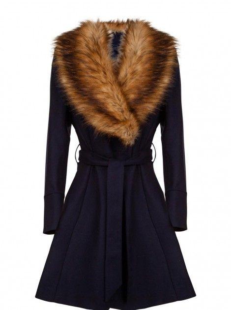 naf naf 160 manteau cintr bleu marine fausse fourrure dispo en 36 lille et en 38 v d. Black Bedroom Furniture Sets. Home Design Ideas