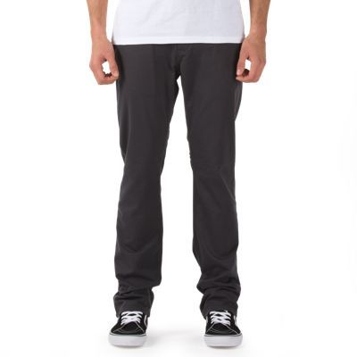 Part of Anthony Van Engelen's AV Collection, the V56 Standard AV Covina, made of 87% cotton/12% polyester/1% elastane, is a 5-pocket stretch twill pant with Vans 5-pocket labeling, a leather back waistband patch and Vans clamp label on the back pocket. The model is 6' and wearing a size 32 x 32. 54.50