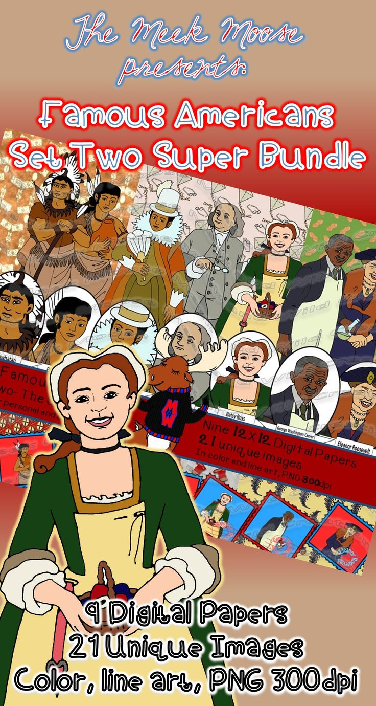 #socialstudies #famousamericans #Pocahontas #Powhatan #GeorgeWashingtonCarver Our Super bundle comes with seven dynamic figures in portrait, profile, and stamp forms. These are great for creating coloring pages and stick puppets as well as classroom printables. Packages also sold separately.