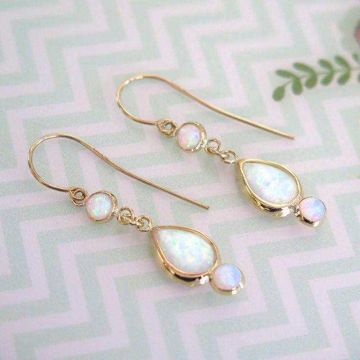 Opal Earrings - 14K Gold Opal Drop Earrings - Blue Opal earrings - Gold Drop Earrings - Opal Dangle Earrings - 14k Opal Gold Earrings - Gift