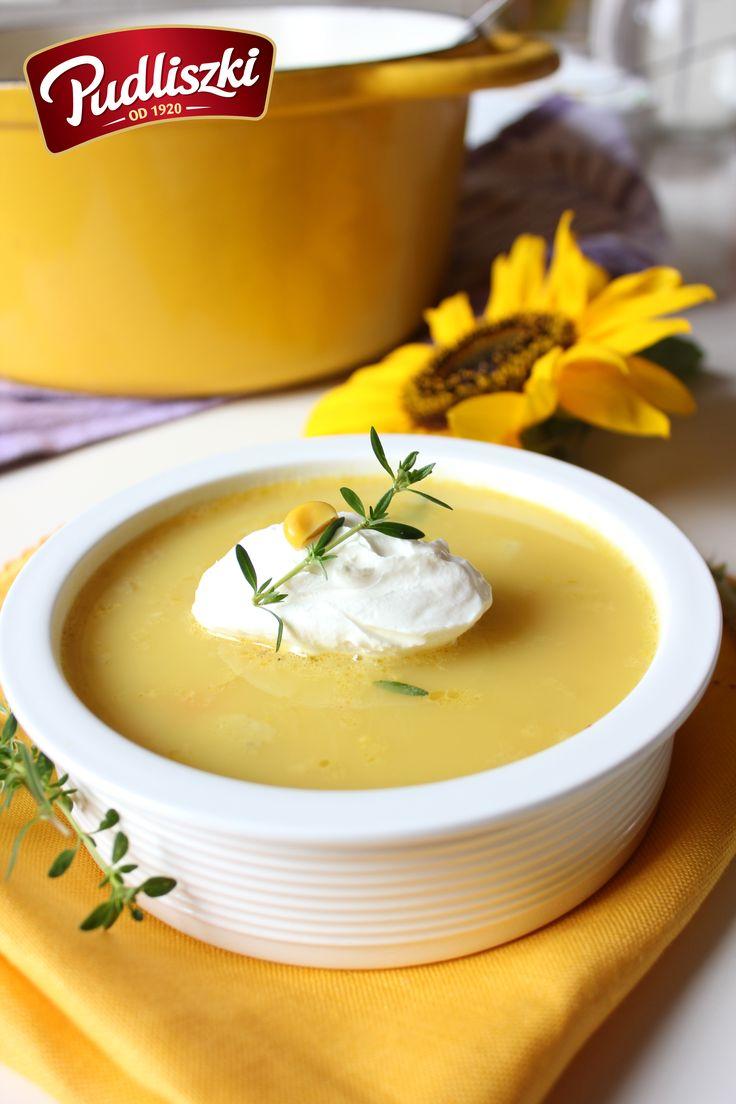Krem z kukurydzy z serkiem mascarpone oraz tymiankiem. #pudliszki #przepis #zupa #kukurydza