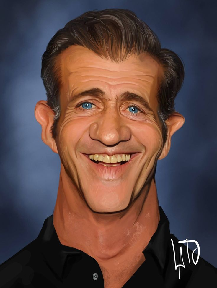 Caricature of Mel Gibson.            🌻 For more great pins go to @KaseyBelleFox