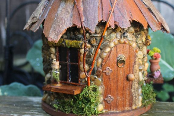 Fairy House with bark roof/ round shape Fairy by TheHealersGarden