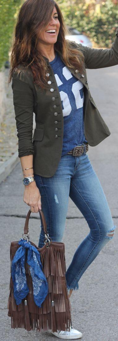 Military Jacket On jeans | Mytenida #military                                                                                                                                                                                 More