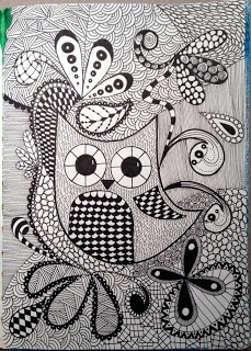 I love owls and zentangle so I did a mix of them. I've only made two or three doodles/zentangles ever so I'm kind of proud of this one.