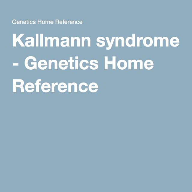 Kallmann syndrome - Genetics Home Reference