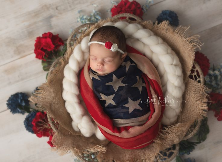 American flag newborn photographer    Baby is wrapped in a flag scarf, not a real flag.    #tulsanewbornphotographer #tulsanewbornphotography #newborn #babygirl #baby #americanflag #4thofjuly #americana #usa #independence #tulsa #oklahoma #fullfeatherphotography