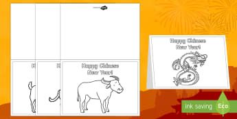 Chinese New Year Story Animals Greetings Cards - Chinese New Year KS1. KS2, EYFS, Celebration, festivals, rooster, cards