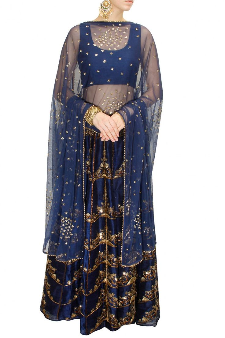 INTRODUCING : Navy blue antique gold embroidered lehenga set by Astha Narang. Shop now at www.perniaspopups... #fashion #designer #krishnamehta #shopping #couture #shopnow #perniaspopupshop #happyshopping