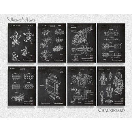 Lego Patent Posters, Set of 8 Prints, chalkboard background.