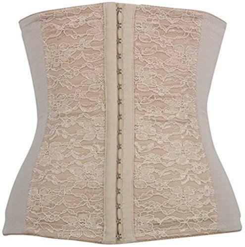 Women's Spiral Steel Boned Lace Decorated Underbust Waist Cincher Corset