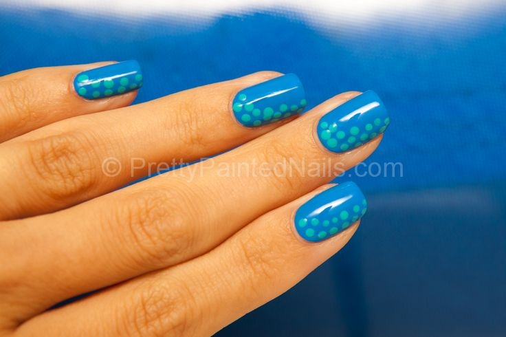 Simple Nail Art Dot Design with Water Based Nail Polish  http://prettypaintednails.com/water-based-nail-polish/simple-nail-art-dot-design/