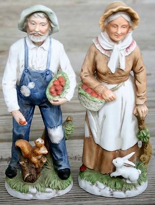 Homco #1409 Home Interior Old Couple Apples Figurines Farmer & His Wife Farm Figurines
