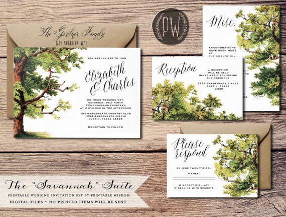 Printable Wedding Invitation Suite Tree summer wedding invite vintage illustration oak tree rustic wedding invitation card invitation set