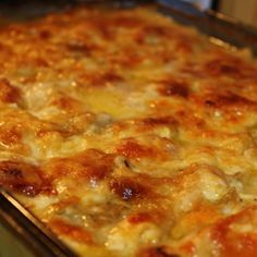Homemade Ham and Scalloped Potatoes. I just made these last night and they turned out pretty good. Only suggestion would be to use a mandolin to get even cuts on the potatoes or cook longer to ensure the potatoes are done. I cookded for approx. 1 hour.