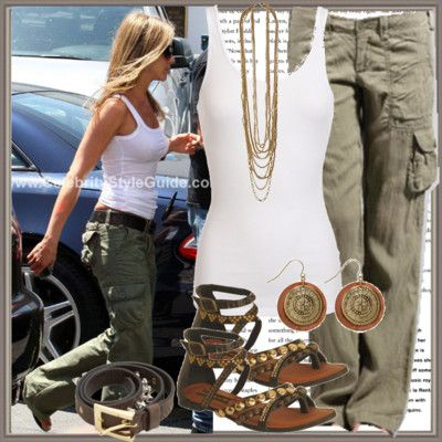I love the army colored green cargo pants and white tank outfit
