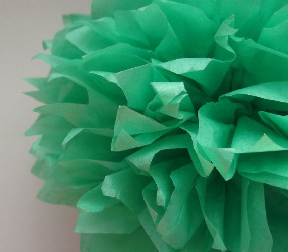 1 Mint Tissue Paper Pom Pom  Wedding Decoration  by PaperPomPoms