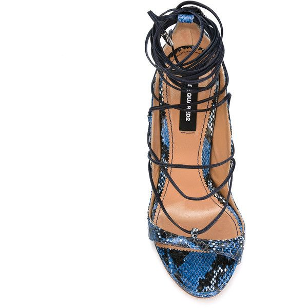 Dsquared2 lace-up sandals ($615) ❤ liked on Polyvore featuring shoes, sandals, blue sandals, heels stilettos, stiletto sandals, blue stilettos and embellished sandals