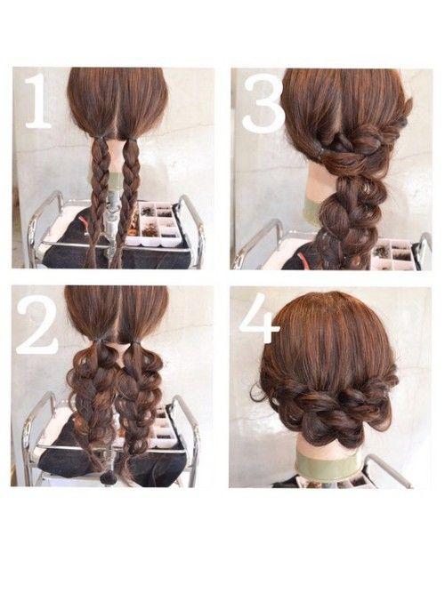 簡単アレンジ♡バレンタインにむけてセルフアレンジ ①後ろの中央におさげをつくる。②編み目をおおきくくずす。 ③左のおさげを右の耳上あたりにもっていく。毛先は折り曲げてピンでとめる。 ④逆方向も同じ要領で。なるべく根元のゴムが見えないように、重ねてピンで固定する。 編み目をはおおきくだいたんにくずすほうがかわいいです♡①でなるべく近ずけておいたほうが、仕上がったときに、地肌がみえにくいですぜひ明日♡