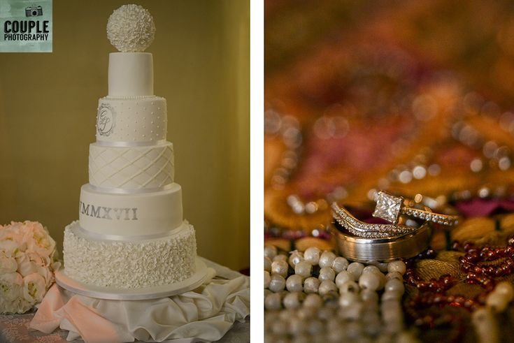 The five tiered wedding cake and the wedding rings. Weddings at Cabra Castle photographed by Couple Photography.