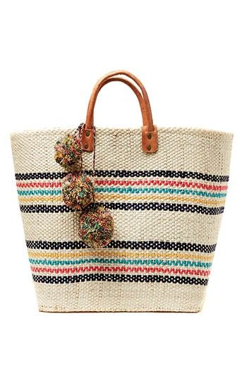 Mar y Sol Caracas Wonen Sisal Basket with Pom Poms in Multi at Pesca Boutique. - Price: $94.00