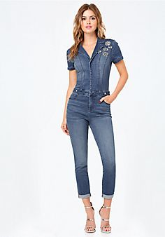 Embellished+Denim+Jumpsuit
