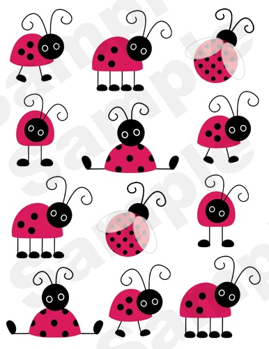 48 Ladybugs Pink Red Black Nursery Baby Girl Kids Wall Art Sticker Decal Decor | eBay