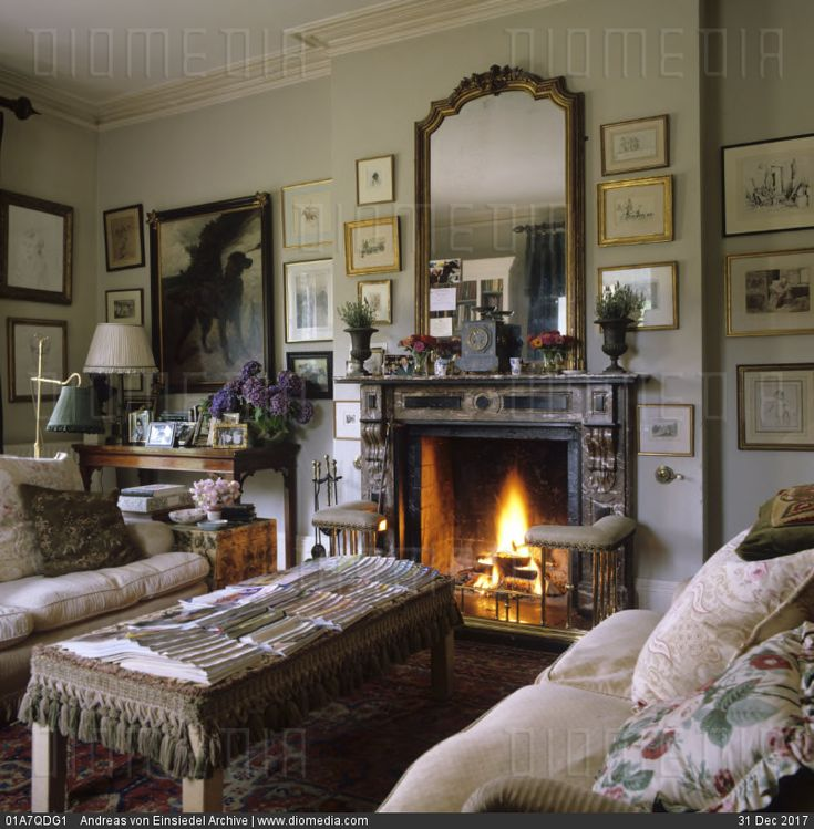 Welsh country house restoration with antique and painted firniture by interior designer Penny Morrison - stock photo